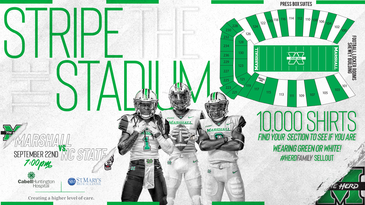 2565f10444c5 Stripe the Stadium Wear your corresponding green or white Herd gear to the  game to help Stripe Edwards Stadium! To view what color you should be  wearing
